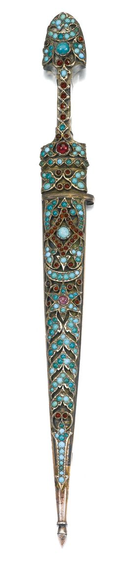 A turquoise and gem-set and silver child's dagger and scabbard, Ottoman provinces, 19th century