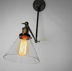 Art Deco Vintage Nordic Concise Style Clear Glass Funnel Lampshade Household Wall Light Cafe Reading Room Lamps GY CY BD BLSJ-in Wall Lamps ...
