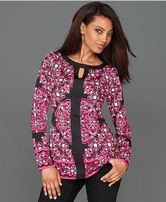 INC International Concepts Top, Long-Sleeve Exotic-Print Tunic - INC Tops - Women - Macy's