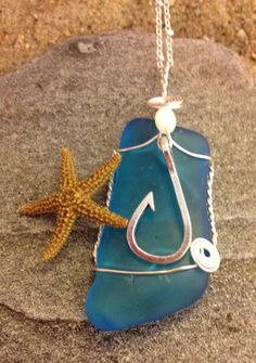 #542 Hook on teal seaglass