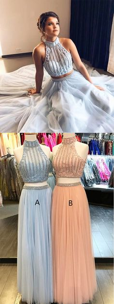 Two Piece Prom Dresses,Beaded Prom Dress,Light Sky Blue Prom Dresses,Tulle Prom Gown,Long Prom Dress,High Neck Prom Dresses #twopieces #beading #skyblue #highneck #prom #long