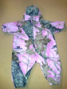 pink camo fleece romper and hat