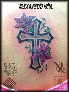 Cross and Flowers Tattoo by Enoki Soju by enokisoju.deviantart.com on @deviantART