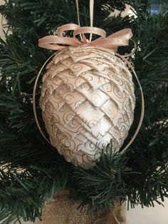 Ivory Satin With Gold Design Christmas Pinecone Ornament