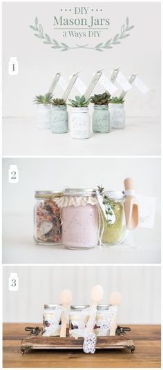 Mason Jars 3 different ways for different styles of wedding favours