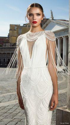 julie vino fall 2017 bridal cap sleeves illusion boat neck deep v neck full embellishment elegant sophiscated sheath wedding dress low back sweep train (1208) zv