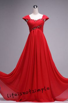 Red prom dress long formal evening dresses by lifeisnotsimple, $118.00