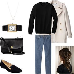 love this simple with the pretty hair.  would use my short light khaki jacket instead of trench