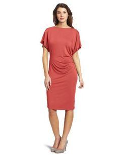 Evolution by Cyrus Women's Short Flutter Sleeve Boat Neck Drape Dress