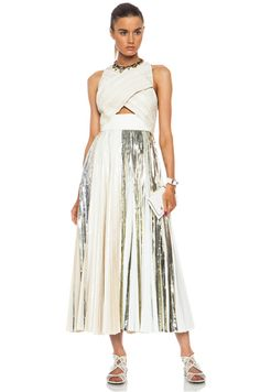 2711f7143599d Proenza Schouler Foil Print Poly Pleated Cloque in White