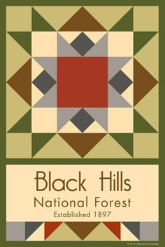 Black Hills National Forest Quilt Block designed by Susan Davis. Susan is the owner of Olde America Antiques and American Quilt Blocks She has created unique quilt block designs to celebrate the National Park Service Centennial in 2016. These are the first quilt blocks designed specifically for America's national parks and are new to the quilting hobby.
