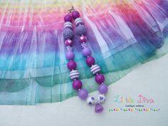 Purple Heart Bubblegum Necklace by LittleDivaBubblegum on Etsy, $22.00