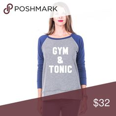 Gym & Tonic women's lightweight sweatshirt ~ cute GYM AND TONIC WOMENS LIGHTWEIGHT SWEATSHIRT long sleeve light weight sweatshirt 62% poly, 34% rayon, 4% spandex ~ Sizes Small ~ XL ~ 4 color options ~ this listing is for navy/grey Tops Sweatshirts & Hoodies