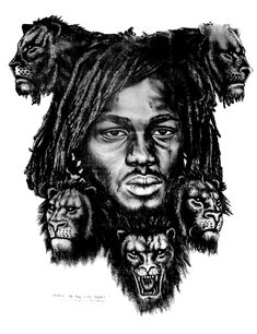 daniel in the lions den Rasta Art, Bob Marley Art, Rastafari Art, Pop Art Fashion, The Heart Of Man, America Art, Color Of Life, Portrait Art, White Art