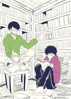 Nenchumatsu at the library Bear Makeup, Ichimatsu, Body Poses, Twin Brothers, Kuroko, Game Character, Geek Stuff, Fandoms, Kawaii