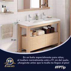 Si Vas A Instalar Accesorios En El Baño De Tus Hijos Considera Que La Altura Ideal Para Colocar El Toallero Es 91 Cm De Modo Bathroom Vanity Vanity Bathroom