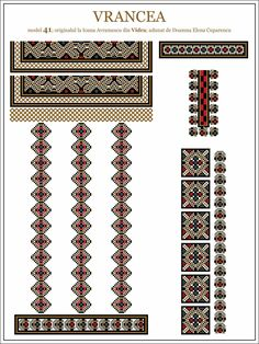 Semne Cusute: ie din MOLDOVA, Vrancea, Vidra Cross Stitch Borders, Cross Stitch Patterns, Romania People, Embroidery Motifs, Hama Beads, Traditional Outfits, Beading Patterns, Pixel Art, Embellishments