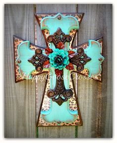 Wall Cross - Wood Cross - Small - Leopard/Cheetah print, Antiqued Turquoise, with Iron Cross and large Turquoise Iron Rose Wooden Crosses, Crosses Decor, Wall Crosses, Painted Crosses, Decorative Crosses, Painted Wood, Rustic Art, Rustic Cross, Rustic Wood