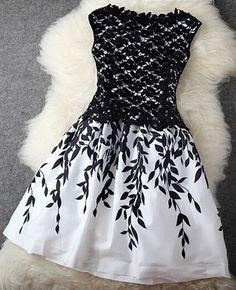 Black Patchwork Lace Leaves Print Double-deck Dress - Midi Dresses - Dresses