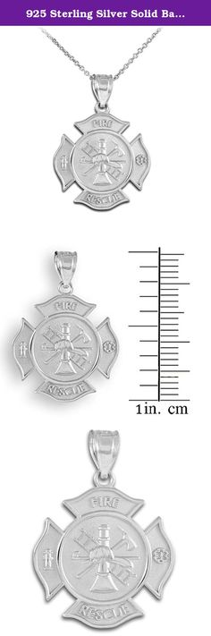 """925 Sterling Silver Solid Badge Rescue Firefighter Pendant Necklace, 22"""". This fine firefighter necklace's design was inspired by the St. Florian medal/Maltese cross design--the ubiquitous emblem of the fire department. With this symbolic piece of jewelry, express your appreciation for those brave men and women of the Fire Department, actively serving or retired--always ready to do their sworn duty, whatever it takes. ."""