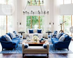 Nautical Living Room Decorating Ideas With Navy Blue Seating . Living Room Grey, Home And Living, Living Room Decor, Cottage Living, Modern Living, Style At Home, Living Room Designs, Living Spaces, Living Rooms