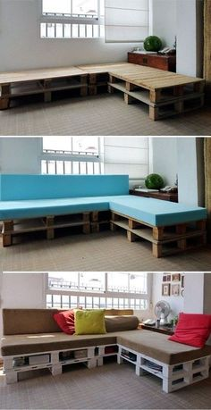 this is a really awesome idea. it would be soooo much cheaper than buying one of those sectionals i've been admiring. they are like 500$ I would love to try this for the rec room- I would cover the bottom with the pallets with some kind of material so it looks like a legit couch. awesome idea!!!