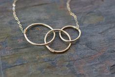 gold circles necklace three mothers necklace by greygoosegifts