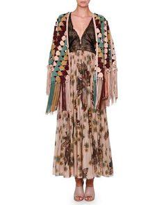 valentino geometric fringed suede cape multi butterfly print midi dress wlace bodice beige