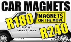 CAR MAGNETS @ R180 PER SET!!! EXPOSE YOUR BRAND!!!  T-SHIRTS FROM R25/PRINT!! MUGS FROM R50  Contact us on 061 967 0365 or info@creationist.co.za or visit our website www.creationist.co.za Car Magnets, Mugs, Website, T Shirt, Supreme T Shirt, Tee Shirt, Tumblers, Mug, Tee