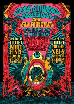 First edition of the City Sounds music festival in Paris Centquatre which will welcome the best of the independent San Francisco rock scene: Thee Oh Sees, Ty Segall one man band, White Fence, Moon Duo, Warm Soda, Shannon & The Clams.