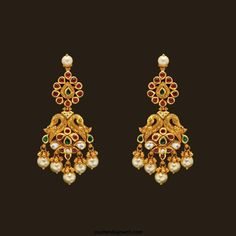 gold antique pearl, ruby, emerald and kundan studded peacock earrings from VBJ. For inquiries please contact Vummudi Bangaru Jewellers, 044 4288 India Jewelry, Ear Jewelry, Temple Jewellery, Gold Jewelry, Jewelery, Diamond Jewelry, Jewelry Art, Gold Earrings Designs, Gold Jewellery Design
