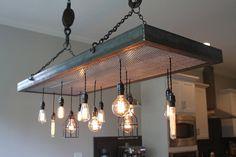 Custom Metal Light Fixture with Edison Bulb Pendants Dining Lighting, Industrial Lighting, Custom Lighting, Lighting Design, Diy Chandelier, Custom Metal, Vintage Lamps, Light Fixtures, Home Furniture