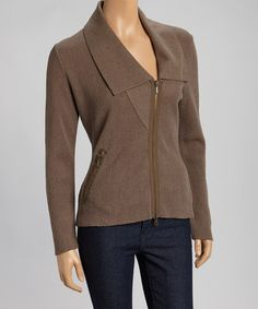 Love this Bark Taupe New Zip Alpaca-Wool Blend Cardigan by Beyond Threads on #zulily, $100 !!  #zulilyfinds