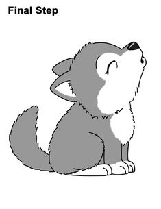 Cute wolf drawing how to draw cute little cartoon wolf pup cub howling cute wolf drawing Wolf Drawing Easy, Cute Wolf Drawings, Husky Drawing, Cute Cartoon Drawings, Cute Disney Drawings, Kawaii Drawings, Easy Drawings, Cartoon Bat, Cartoon Wolf