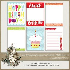 Happy Birthday journaling cards freebie from Wild Blueberry Ink #scrapbook #digiscrap #scrapbooking #digifree #scrap