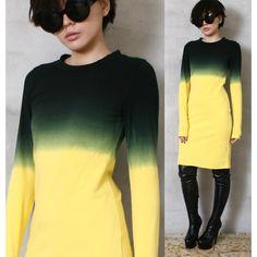 RTBU Cotton Punk Dip Tie Dye Gradient Ombre Long Sleeve Top T Shirt Dress  Yellow material  cotton size options  S acbadf9b4