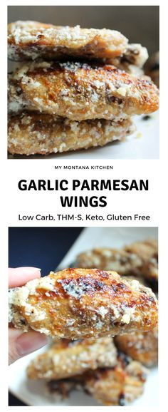 Garlic Parmesan Wings (Low Carb, THM-S, Keto) #trimhealthymama #thm #thms #lowcarb #glutenfree #keto #wings #garlic #parmesan #garlicparmesan