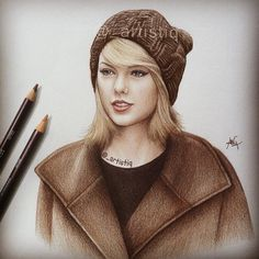 A sketch of Taylor Swift, drawn with brown pencils.  @taylorswift