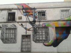 """""""Freedom"""" By street artist Sfhir Ogt Lcsiete, in Barrio Arganzuela, Madrid,"""