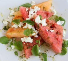watermelon salad with goats cheese, cress, mint and vodka
