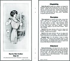 Spirella brassiere from http://commons.wikimedia.org/wiki/File:SpirellaAccessories1913page14_15.png