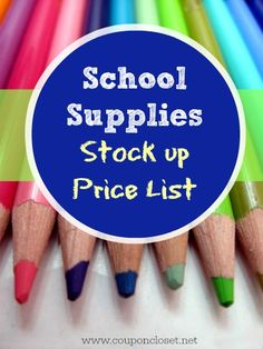 Know the BEST back to school prices with our free printable! http://www.couponcloset.net/school-supplies-stock-up-price-list/