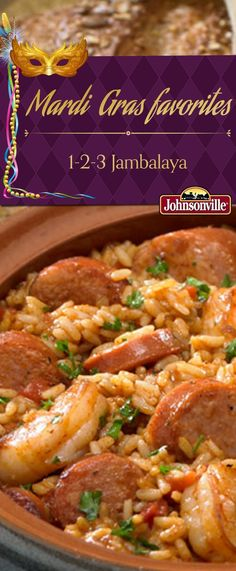Celebrating Mardi Gras is easy with this Jambalaya recipe! It's also ready in 30 minutes or less. Celebrating Mardi Gras is easy with this Jambalaya recipe! It's also ready in 30 minutes or less. Creole Recipes, Cajun Recipes, Seafood Recipes, Haitian Recipes, Louisiana Recipes, Donut Recipes, Sausage Recipes, Suppers, Gastronomia