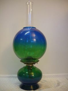 "Vintage Risdon MFG Danbury CT Double Globe Oil Lamp Green to Blue Glass 20"" Tall"