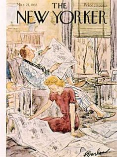 Perry Barlow / cover of The New Yorker magazine, March 21, 1953 … depicts man and woman reading newspaper