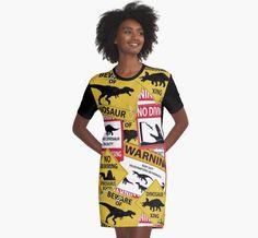 Dinosaur Caution Signs Graphic T-shirt Dress