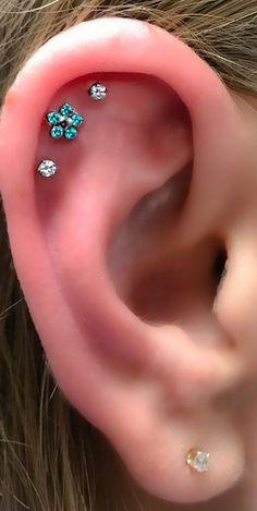 Cute Triple Cartilage Ear Piercing Ideas for Women Crystal Flower Constellation Helix Earring Studs