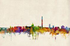 Washington Dc Skyline Digital Art  --- I wonder if I could paint something like this...?