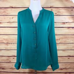 ⭐NEW LAUREN CONRAD Roll Tab Woven Blouse Top Small Teal Green Career Work NWT  | eBay