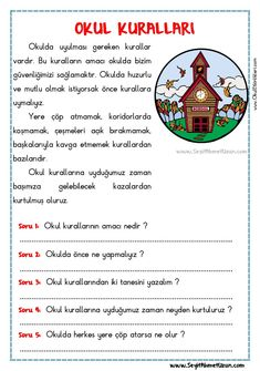 OKUMA ANLAMA METNİ – OKUL KURALLARI - Seyit Ahmet Uzun – Eğitime Yeni Bir Bakış Reading Passages, Reading Comprehension, Turkish Lessons, Learn Turkish Language, Language School, Classroom Rules, Stories For Kids, Special Education, Kids And Parenting